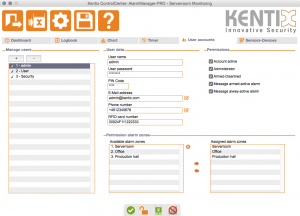 Kentix ControlCenter - User accounts