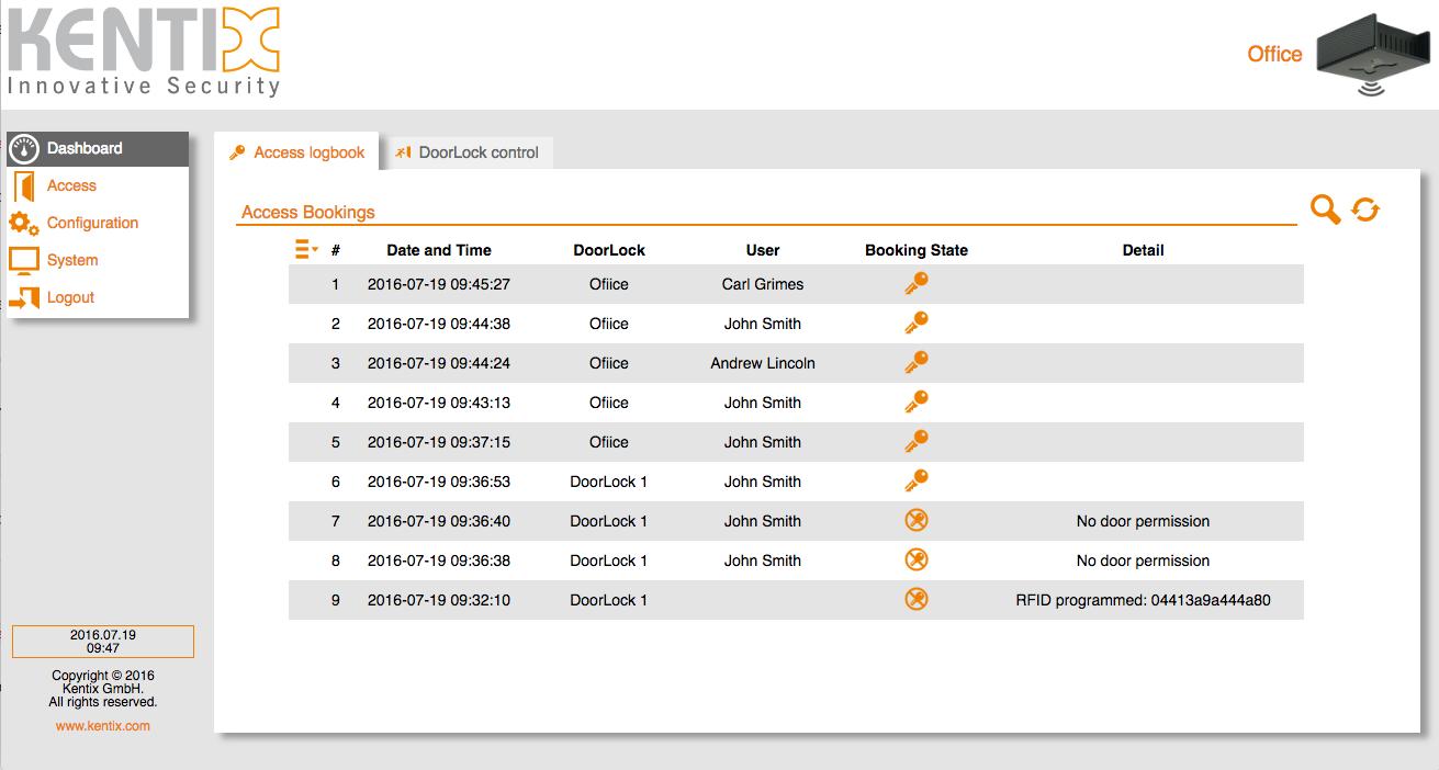 Screenshot Access Logbook