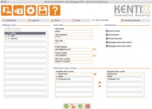 Kentix ControlCenter - User accounts
